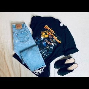 Vintage 501 Levi's distressed jeans .